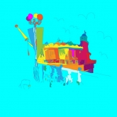 Brighton pier colourful illustration