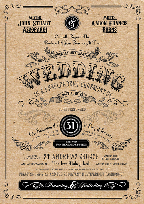 John Azzopardi wedding invitation brighton