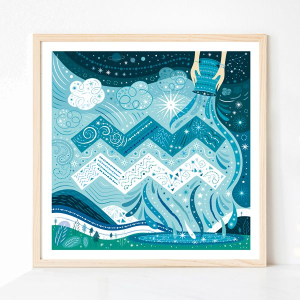Aquarius Zodiac Print by Lila Hunnisett