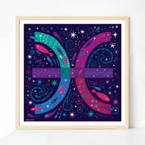 Pisces Zodiac Print by Lila Hunnisett
