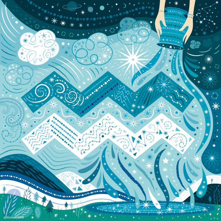 Aquarius glyph symbol artwork in blue and white