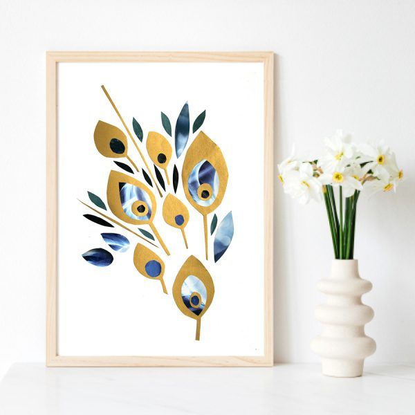Peacock Collage in Gold and blue by Lila Hunnisett