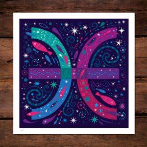 Pisces symbol by Lila Hunnisett