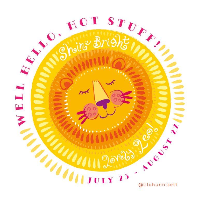A happy leo sun zodiac print design