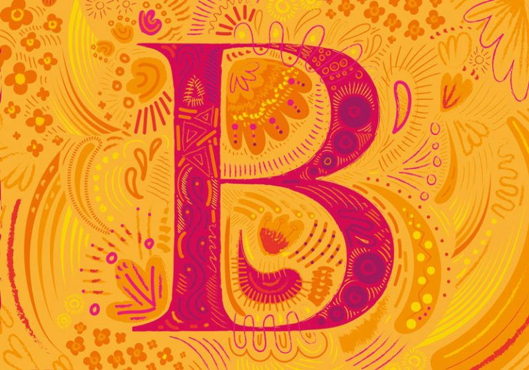 A colourful letter b in orange and yellow