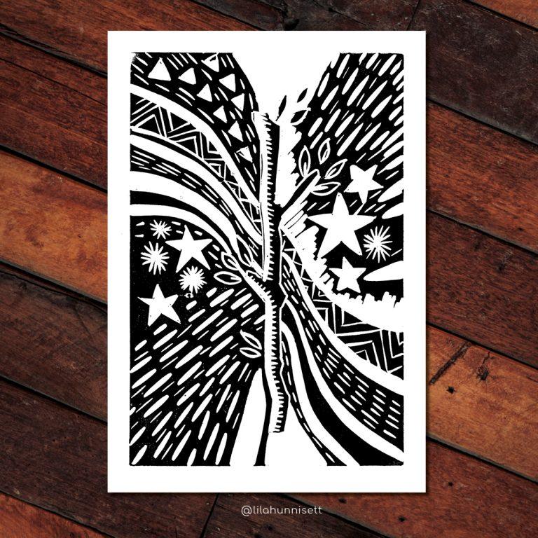 The Ace of Wands - A Tarot Card Linocut