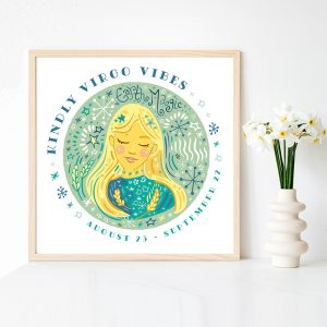 Fine art virgo astrological cute zodiac art print by Lila Hunnisett