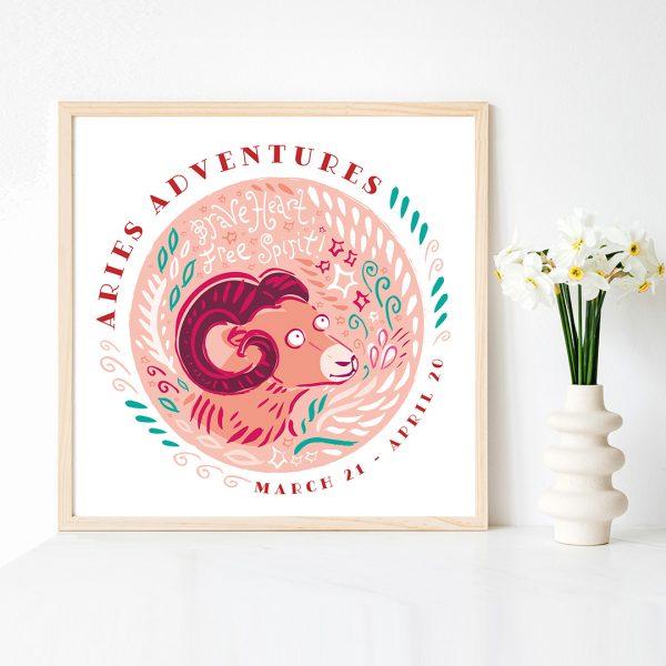 Cute Aries Ram Fine art Print by Lila Hunnisett