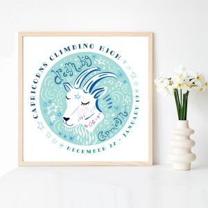 Cute Capricorn Goat Zodiac Art Print by Lila Hunnisett