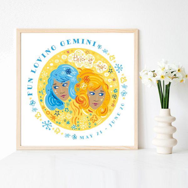 Gemini Twins Cute Zodiac Art Print