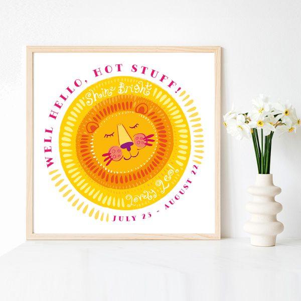 Cute Leo Sun Lion Zodiac Art Print by Lila Hunnisett