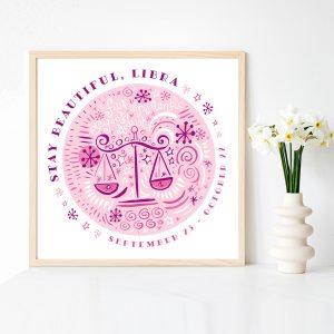 Cute Libra Scales Fine Art Zodiac Print by Lila Hunnisett
