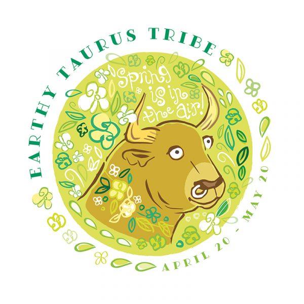 A cute Taurus Zodiac Sign bull picture illustration