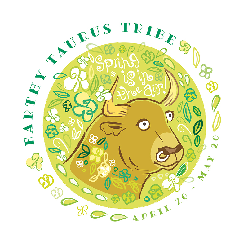 A cute Taurus Zodiac Sign bull picture illustration